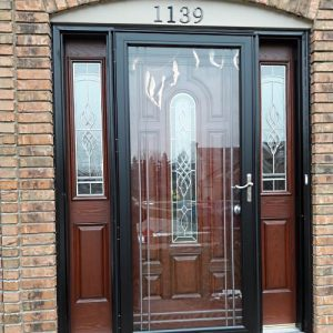 storm door on door with decorative glass
